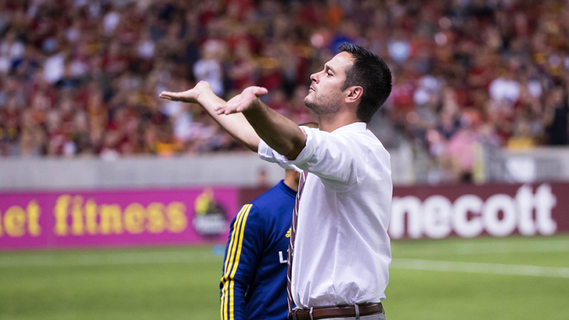 Mike Petke - Real Salt Lake - RSL - Gestures to crowd after ejection