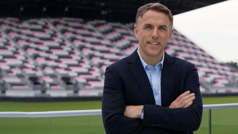 Phil Neville - Miami announcement - in stadium