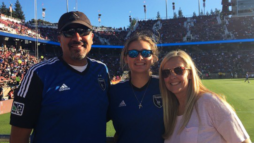 San Jose originals C.J. and Stacey with their daughter Mia at Stanford Stadium in the Bay Area