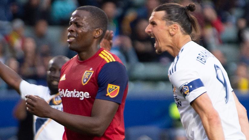 Zlatan Ibrahimovic screams at Nedum Onuoha - LA Galaxy vs. Real Salt Lake