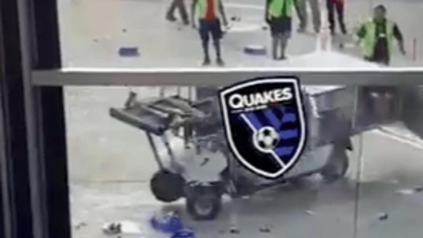 THUMB ONLY - Quakes runaway airport cart - meme - screenshot