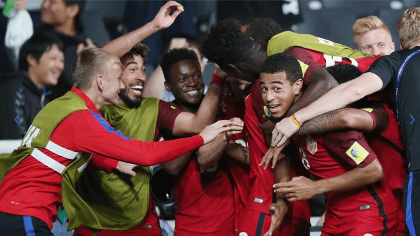 The US U-20s, including Tyler Adams, celebrate Auston Trusty's goal
