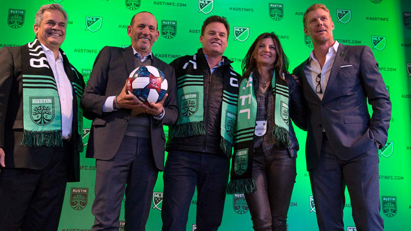 Austin FC announcement - Garber, Lalas, Precourts, Austin mayor