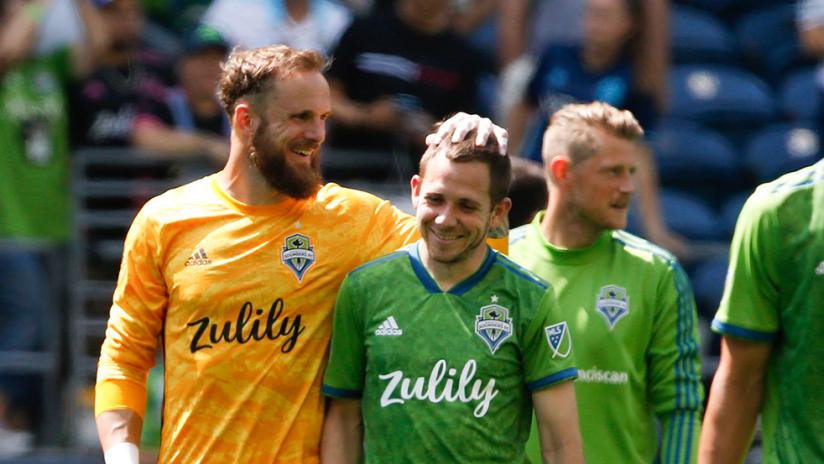 Stefan Frei, Harry Shipp, Kim Kee-Hee - Seattle Sounders - smiles postgame