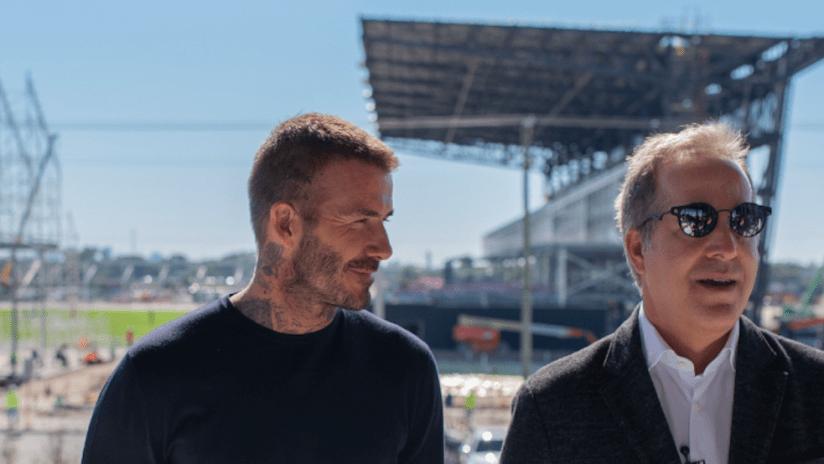 David Beckham, Jorge Mas at Fort Lauderdale Stadium construction update