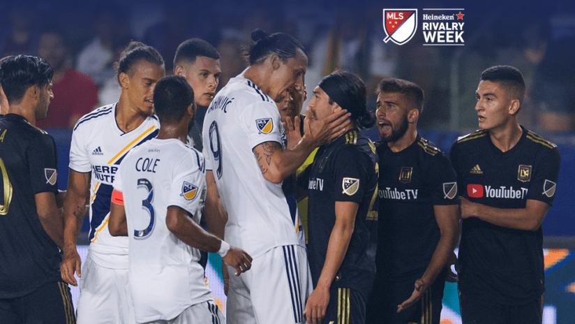 Rivalry Week - 2019 - LA vs LAFC scrum with HRW branding