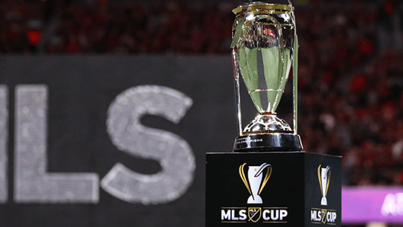 MLS Cup trophy with MLS in background - December 2018