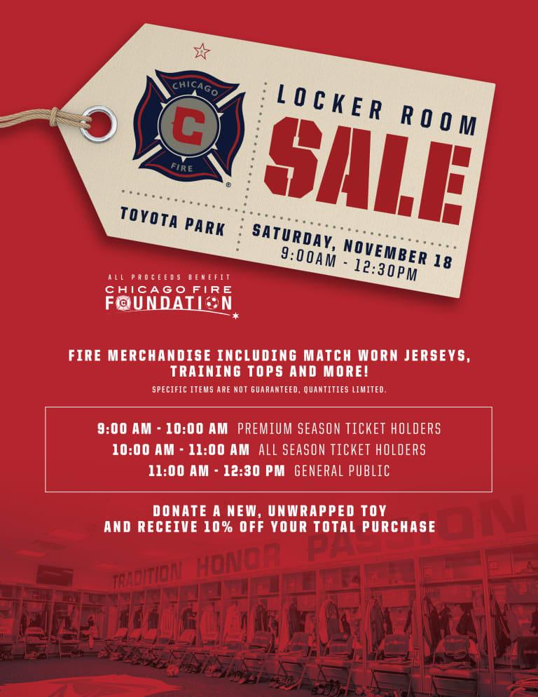 Chicago Fire to host locker room sale on Saturday, Nov. 18 -