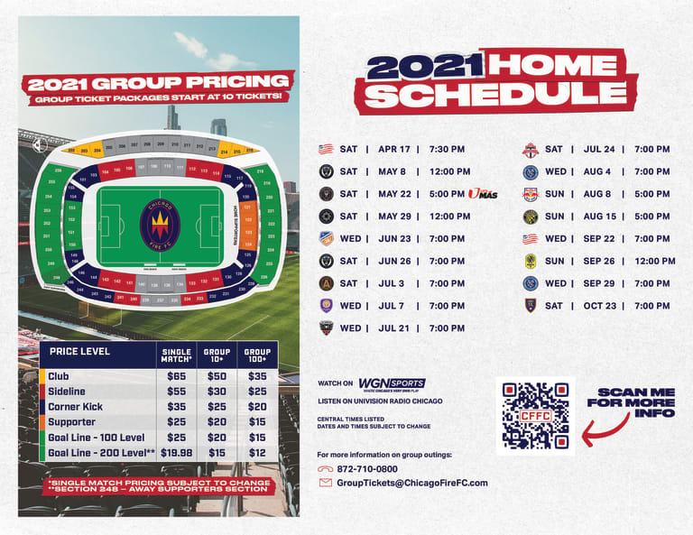 2021 Group Sales Pricing & Seating Map