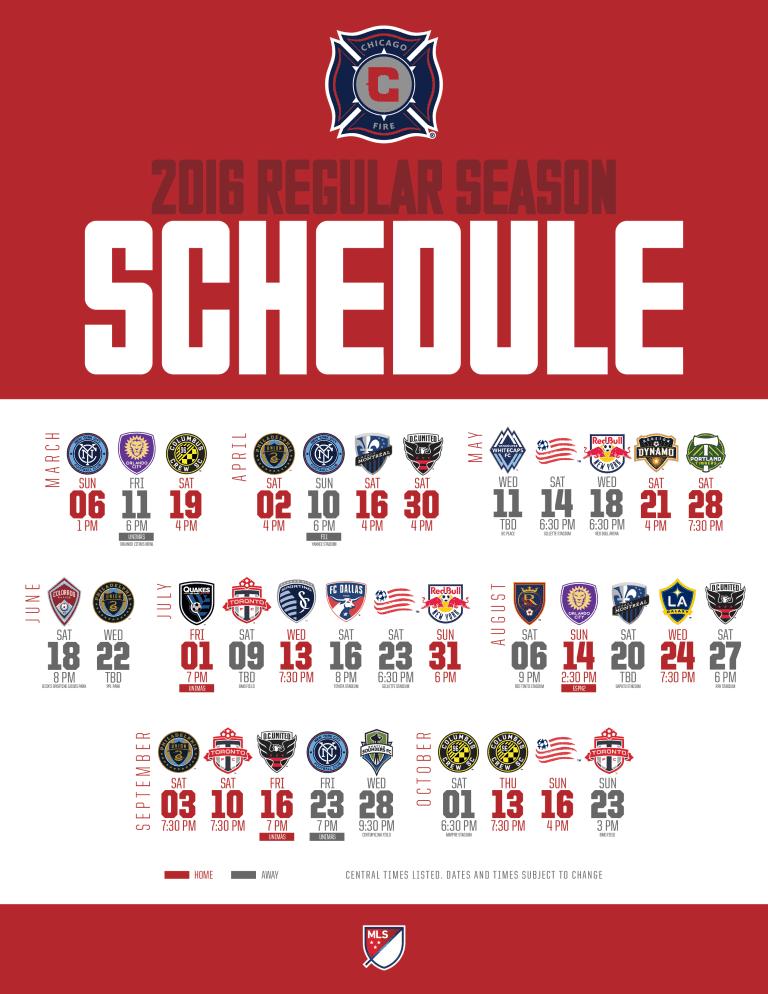 Chicago Fire Soccer Club Unveils 2016 MLS Regular Season Schedule -
