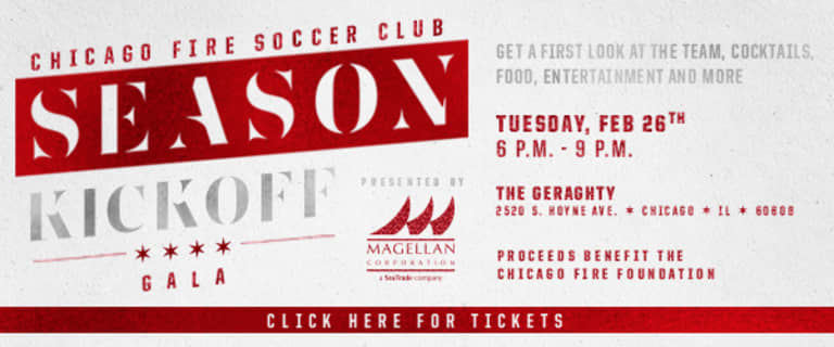 Chicago Fire Foundation to Host 2019 Season Kickoff Gala Presented by Magellan Corporation on Feb. 26 -