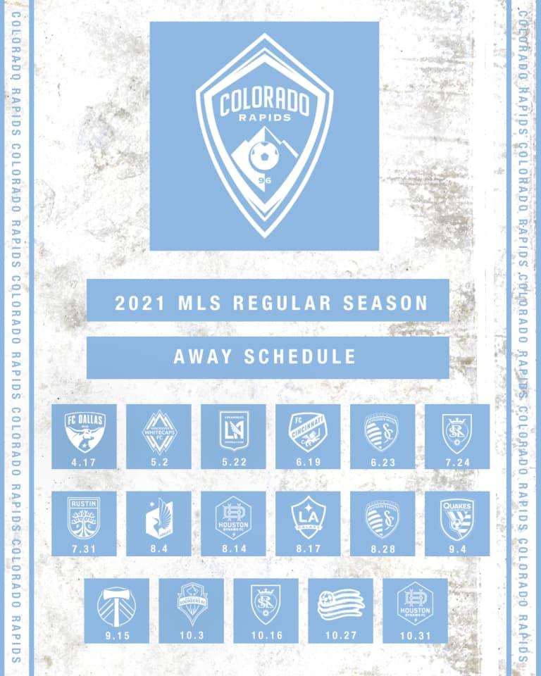 Colorado Rapids Announce 2021 MLS Regular Season Schedule - https://colorado-mp7static.mlsdigital.net/images/2021AwaySchedule_1080x1350.jpg
