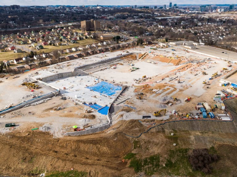 Take a look at Nashville SC's stadium site as steel installation begins -