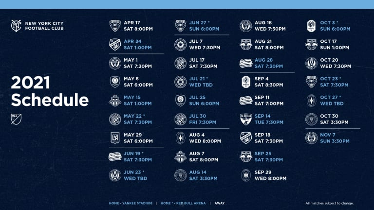 New York City FC anuncia el calendario de la temporada regular del MLS 2021 -