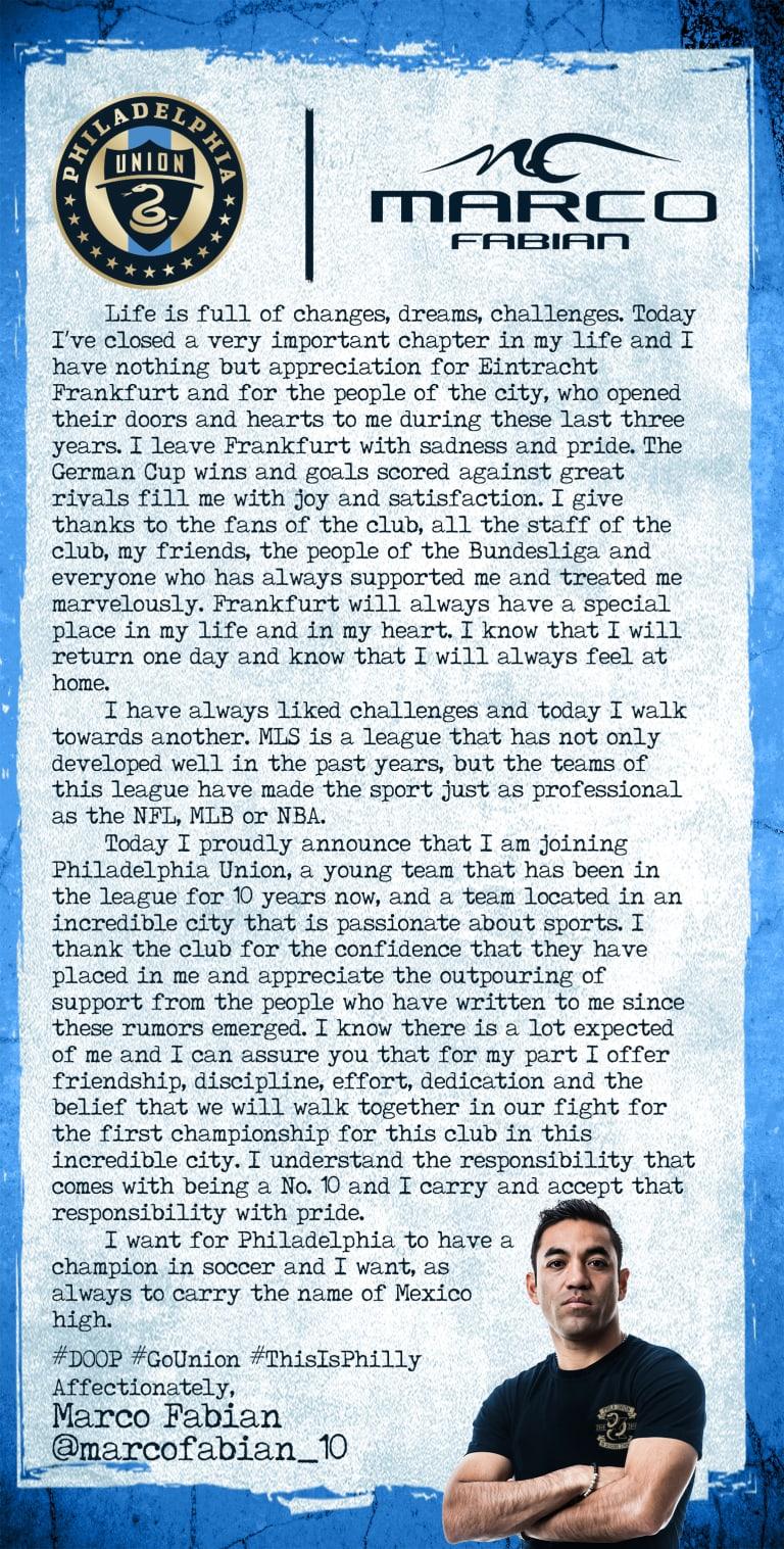 An open letter to fans from Union midfielder Marco Fabián -
