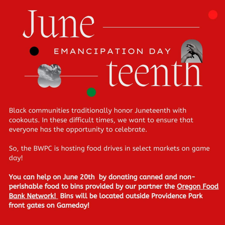 Timbers, Thorns initiatives to honor Juneteenth during June 19, 20 matches at Providence Park -