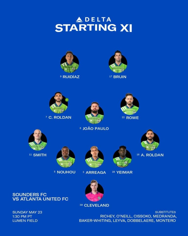 SEAvATL Starting XI: No changes for marquee matchup with Atlanta United -