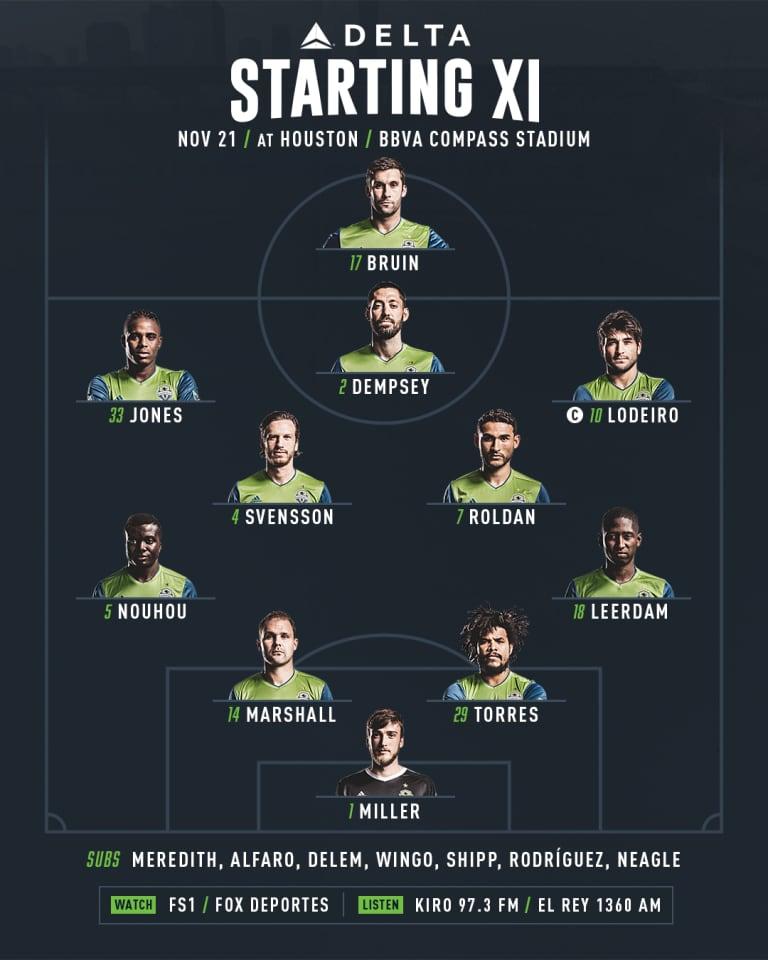 Seattle Sounders at Houston Dynamo starting lineup: Goalkeeper Tyler Miller starts for injured Stefan Frei -
