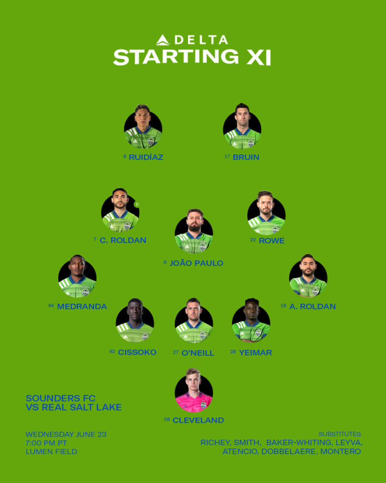 SEAvRSL Starting XI: Two changes for midweek Western Conference clash -