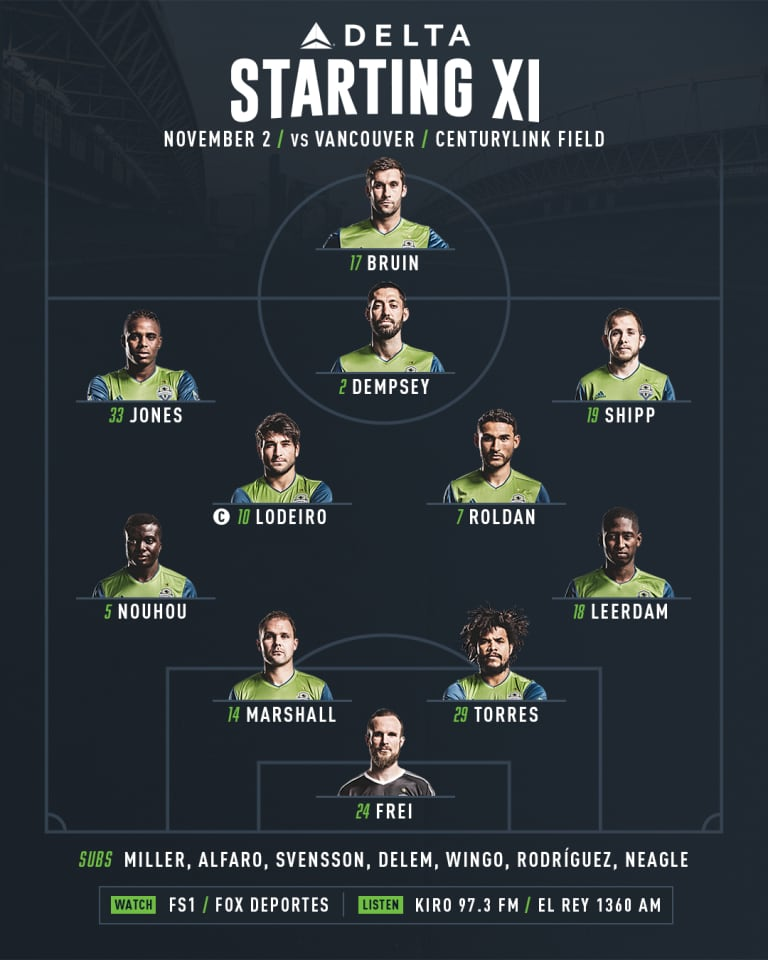 Seattle Sounders versus Vancouver Whitecaps starting lineup -