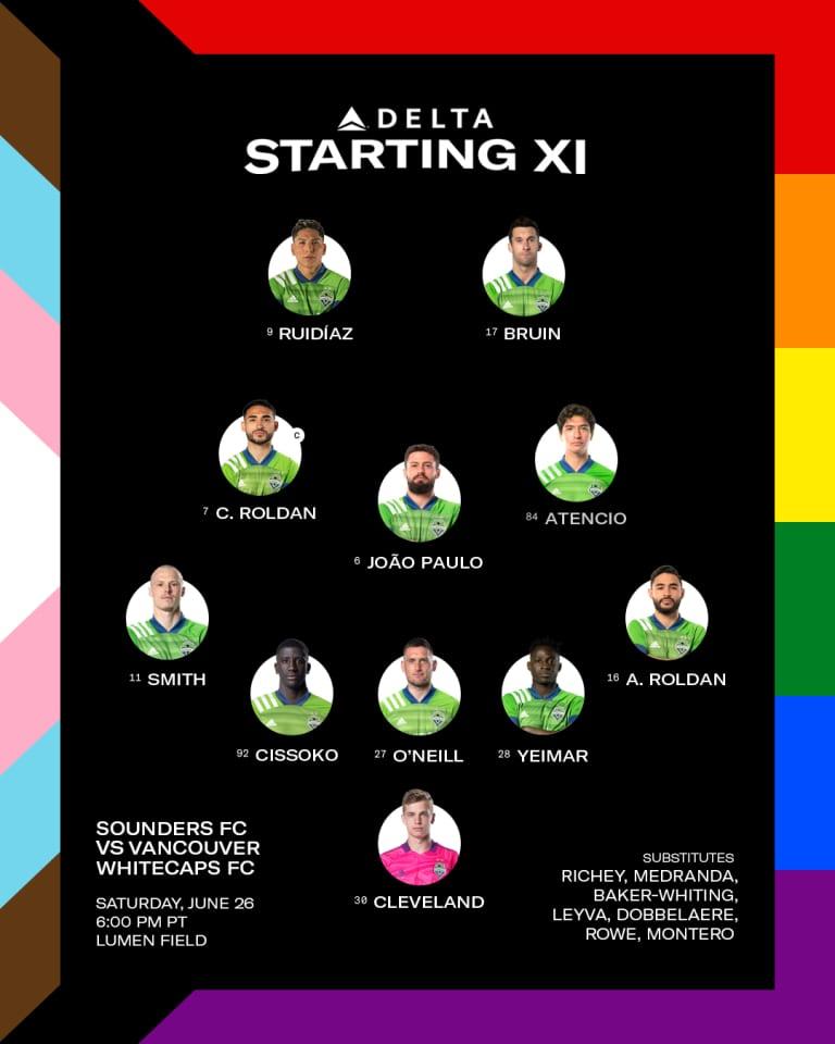 SEAvVAN Starting XI: Brad Smith, Josh Atencio return to the starting lineup -