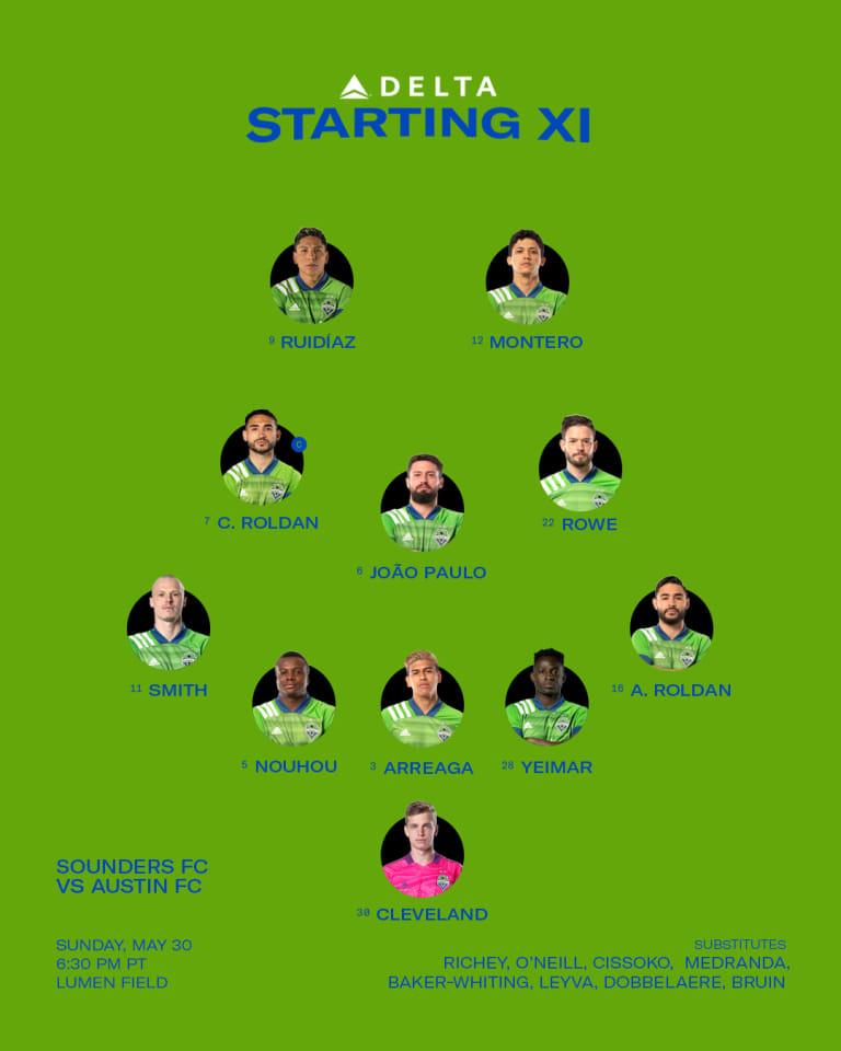 SEAvATX Starting XI: Fredy Montero earns his first start of the 2021 MLS regular season -