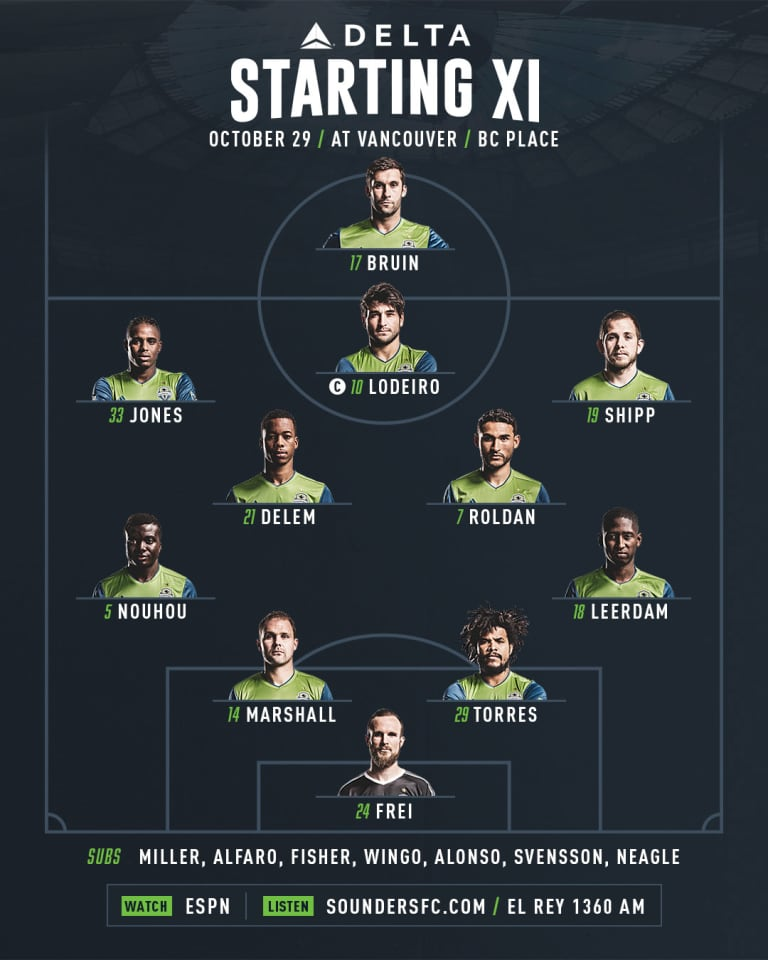 Seattle Sounders at Vancouver Whitecaps starting lineup: Jordy Delem starts, Nicolás Lodeiro pushes forward -