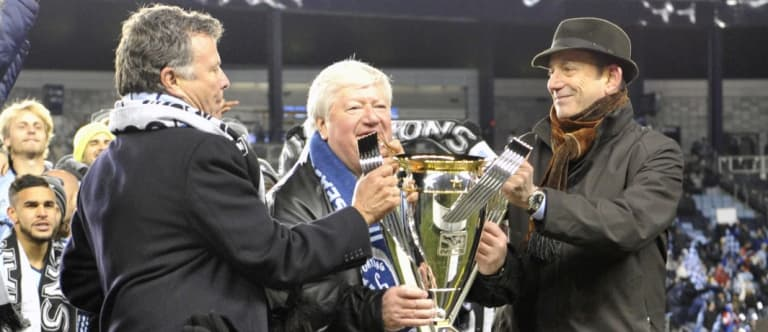 Cliff Illig and Don Garber with MLS Cup trophy in 2013