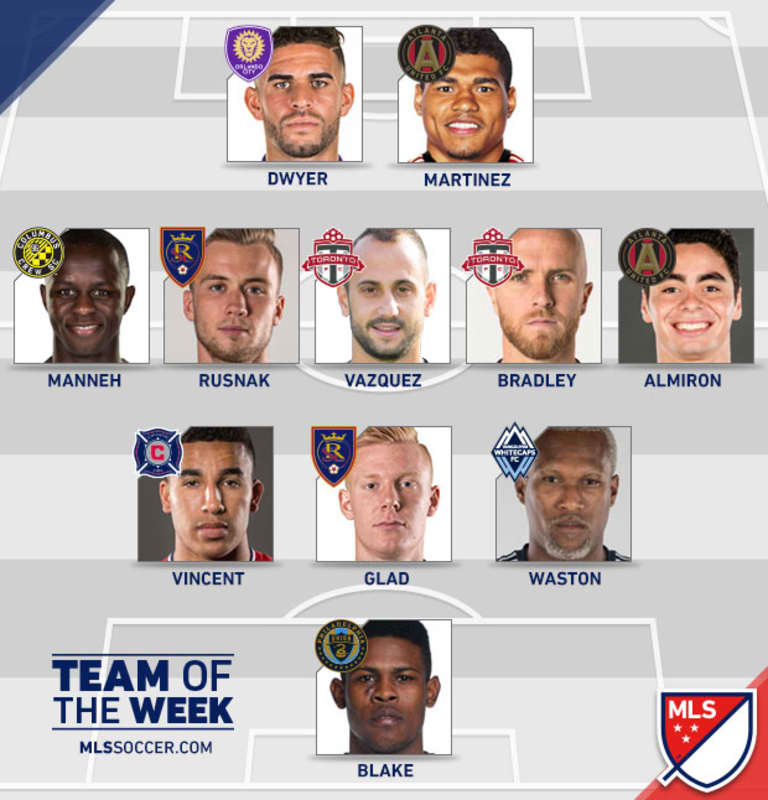 Waston named to MLS Team of the Week; Reyna makes bench -