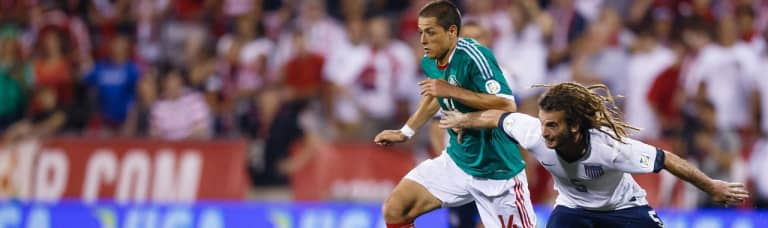 Report: CONCACAF mull sweeping changes to World Cup qualifying, CCL formats - Kyle Beckerman and Javier Hernandez battle in a 2013 US vs. Mexico Hexagonal match