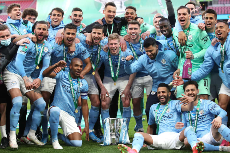 Zack Steffen, Manchester City celebrate League Cup title