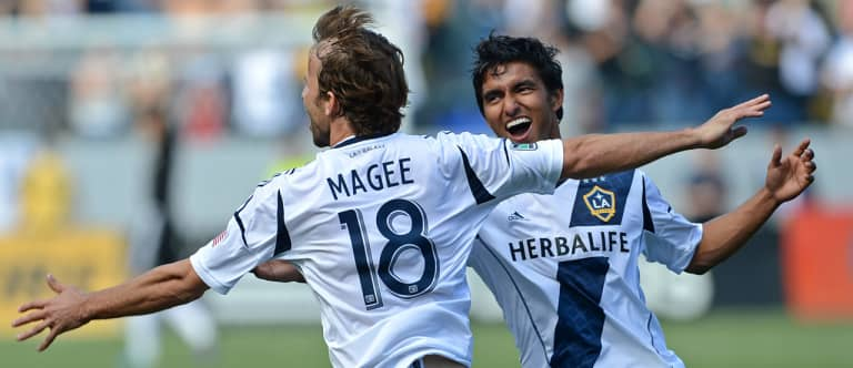 """LA Galaxy's Mike Magee ecstatic to return to """"where I belong"""" after hometown stint in Chicago - https://league-mp7static.mlsdigital.net/images/Magee-celebrates.jpg"""