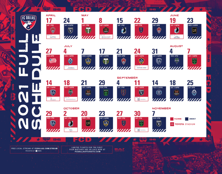 FC Dallas Announces 2021 MLS Regular Season Schedule -