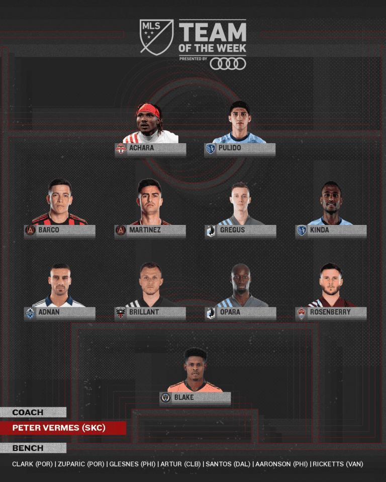 Gadi Kinda, Alan Pulido and Manager Peter Vermes land MLS Team of the Week honors -