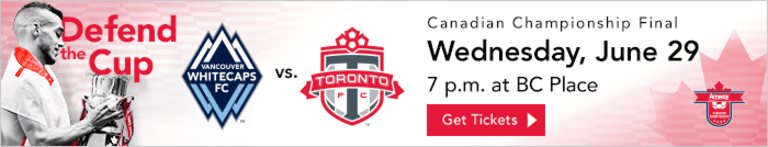 Whitecaps FC name 23-man roster for Wednesday's Canadian Championship Final -