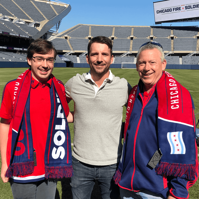 Daniel Kubick (right) and his son in a photo with 2013 MLS MVP and Chicago native Mike Magee