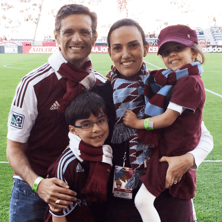 Rapids original Andrew Fedorowicz with his family pitchside at Dick's Sporting Goods Park