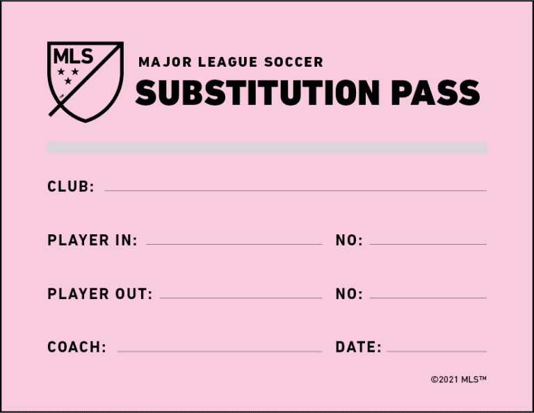 "Pink pass used by the team making a ""concussion substitution"""