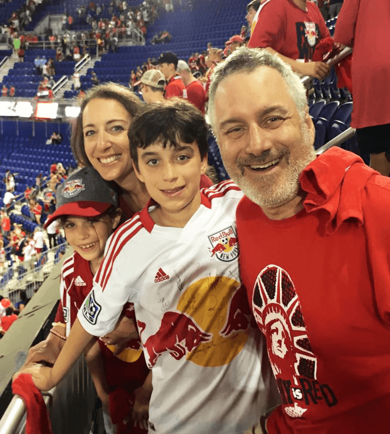 Mark Fishkin and his family take in a match from the stands of Red Bull Arena in Harrison, NJ