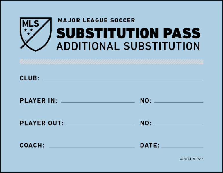 "Blue ""additional substitution"" pass awarded to the opponent of a team making a concussion substitution"