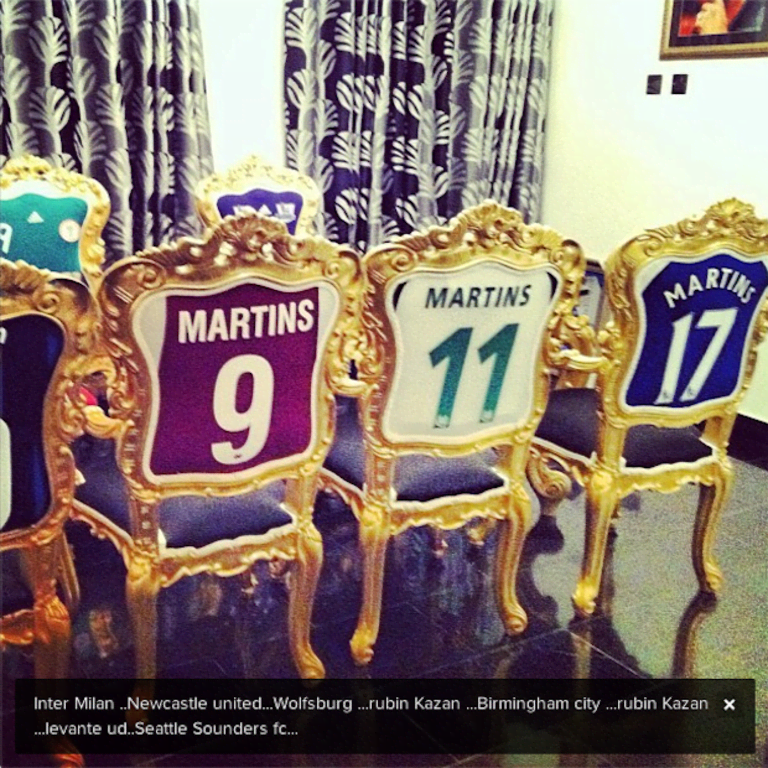 PHOTO: Obafemi Martins turned jerseys from his former clubs into dining room furniture   THE SIDELINE -