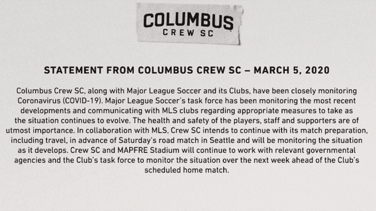 MLS club statements ahead of Week 2 matches in wake of Coronavirus (COVID-19) cases - https://league-mp7static.mlsdigital.net/images/crewstatement.png