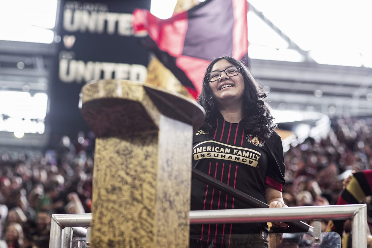 The golden spike is hammered before the match against D.C. United at Mercedes-Benz Stadium in Atlanta, Georgia on Saturday September 18, 2021. (Photo by AJ Reynolds/Atlanta United)