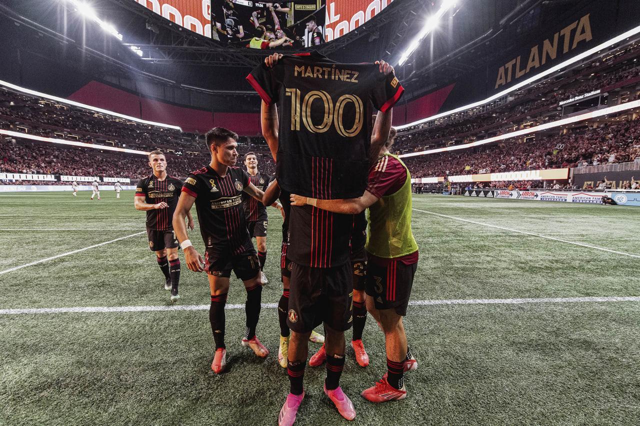 Atlanta United forward Josef Martinez #7 celebrates his 100th club goal during the match against Inter Miami at Mercedes-Benz Stadium in Atlanta, Georgia on Wednesday September 29, 2021. (Photo by Jacob Gonzalez/Atlanta United)