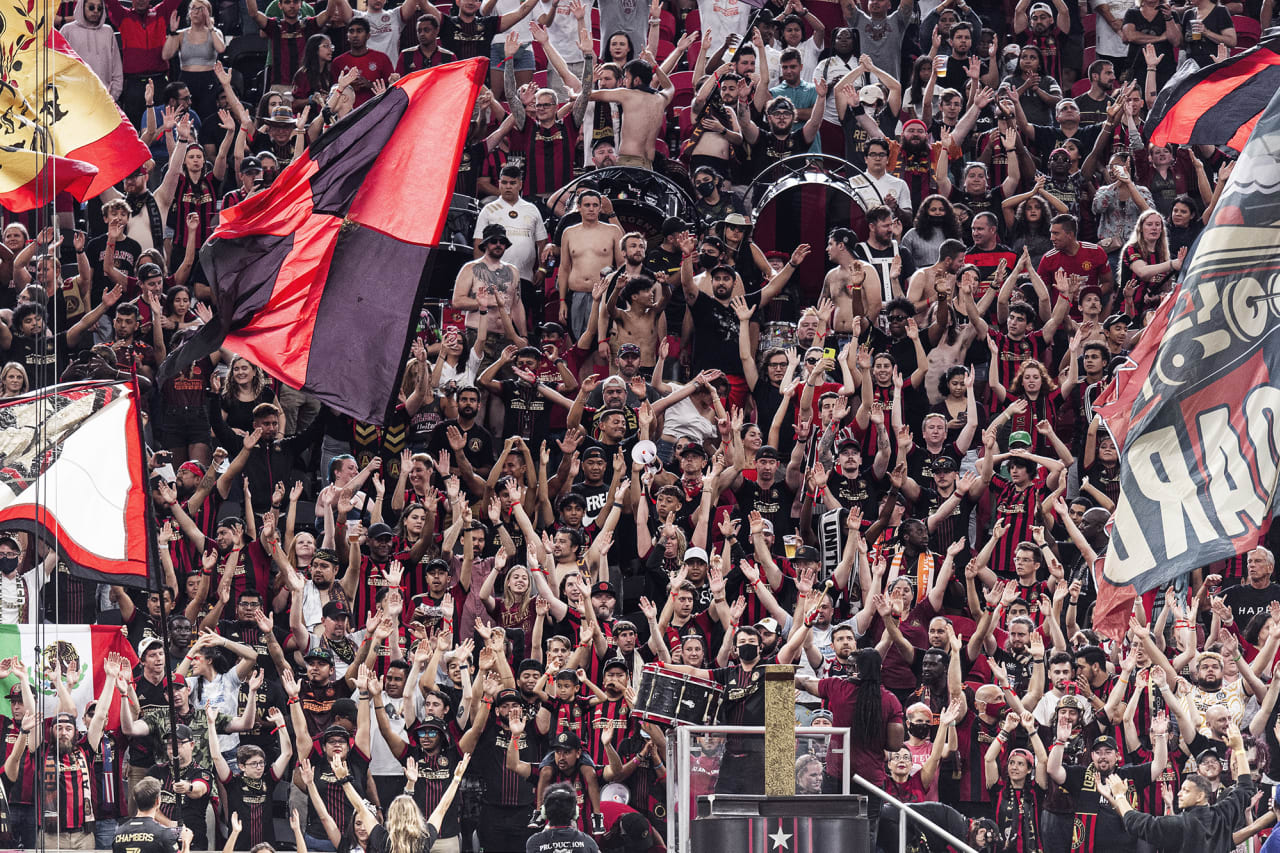 Atlanta United supporters cheer during the match against D.C. United at Mercedes-Benz Stadium in Atlanta, Georgia on Saturday September 18, 2021. (Photo by Jacob Gonzalez/Atlanta United)