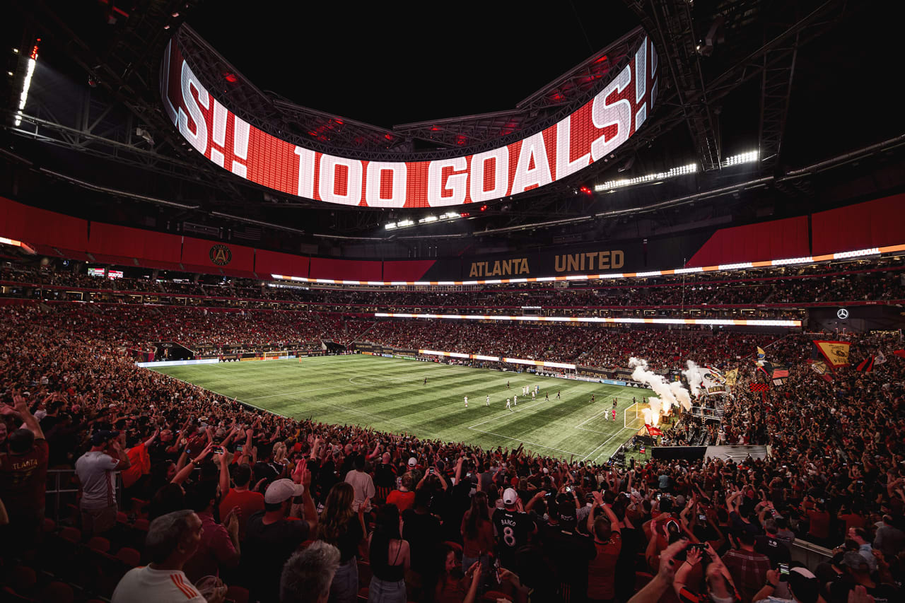 A wide stadium shot after Atlanta United forward Josef Martinez #7 scored his 100th club goal during the match against Inter Miami at Mercedes-Benz Stadium in Atlanta, Georgia on Wednesday September 29, 2021.  (Photo by Kyle Hess/Atlanta United)