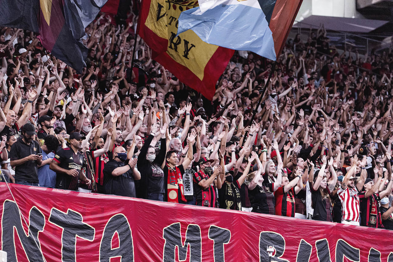 Atlanta United supporters cheer during the match against Orlando City at Mercedes-Benz Stadium in Atlanta, Georgia on Friday September 10, 2021. (Photo by Mitchell Martin/Atlanta United)