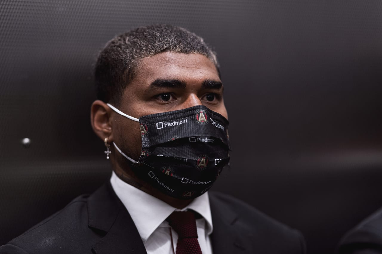 Atlanta United forward Josef Martinez #7 look on in the elevator during team arrival before the match against Inter Miami at Mercedes-Benz Stadium in Atlanta, Georgia on Wednesday September 29, 2021. (Photo by Jacob Gonzalez/Atlanta United)