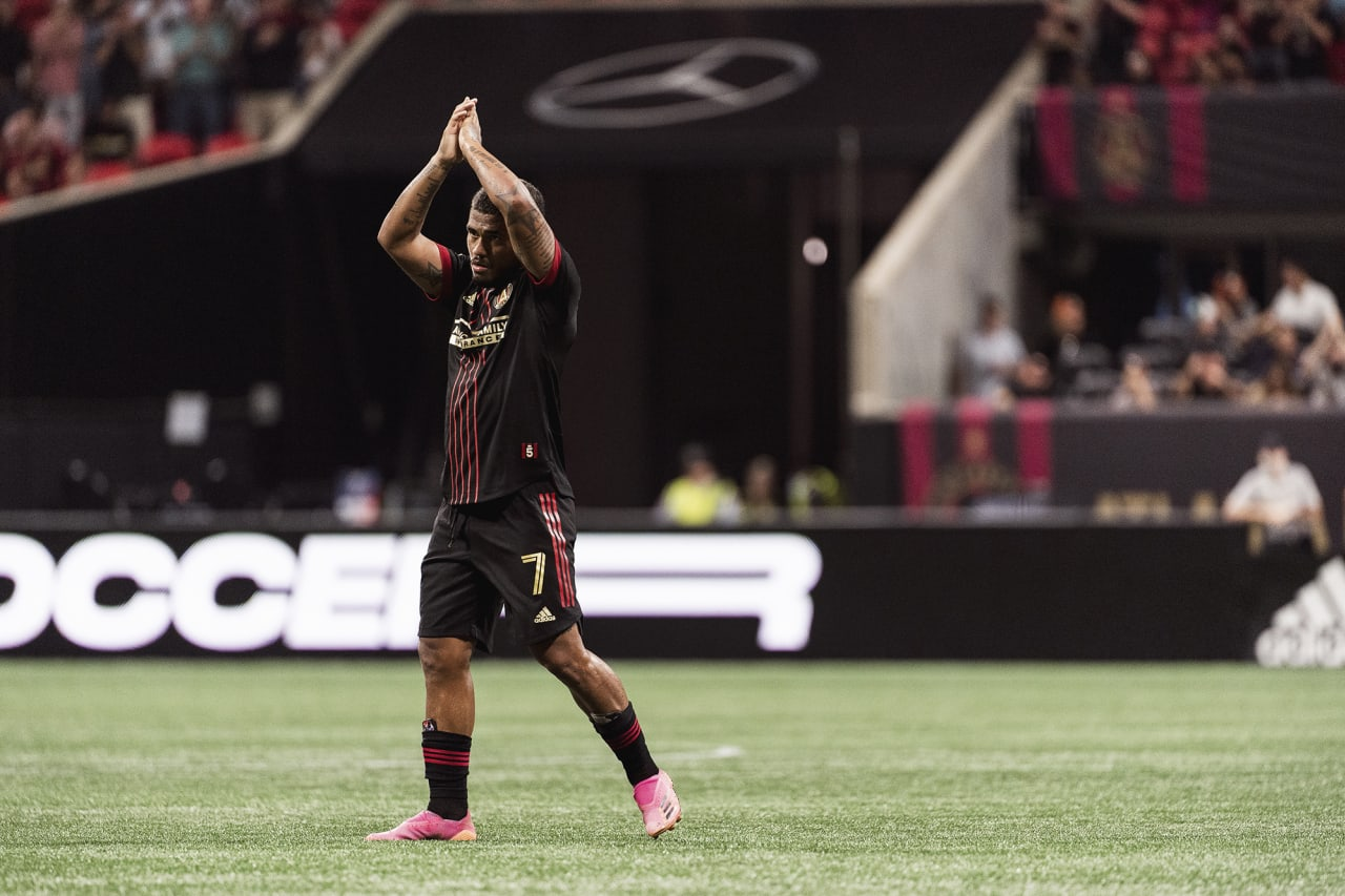 Atlanta United forward Josef Martinez #7 claps towards supporters cheers as he is subbed off of the field during the match against Inter Miami at Mercedes-Benz Stadium in Atlanta, Georgia on Wednesday September 29, 2021. (Photo by Dakota Williams/Atlanta United)