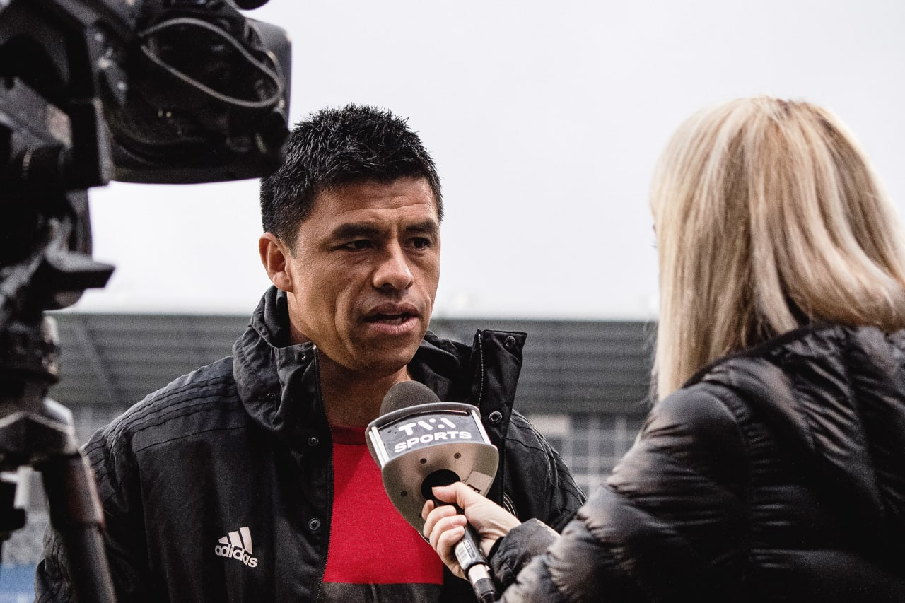 Atlanta United Head Coach Gonzalo Pineda does an interview before the match against CF Montréal at Stade Saputo in Montreal, Quebec, on Saturday October 2, 2021. (Photo by Audrey Magny/Atlanta United)